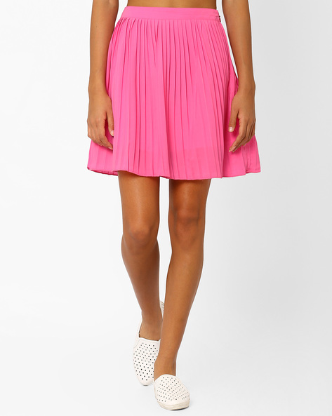 Mini Skirt With Accordian Pleats By AJIO ( Pink )