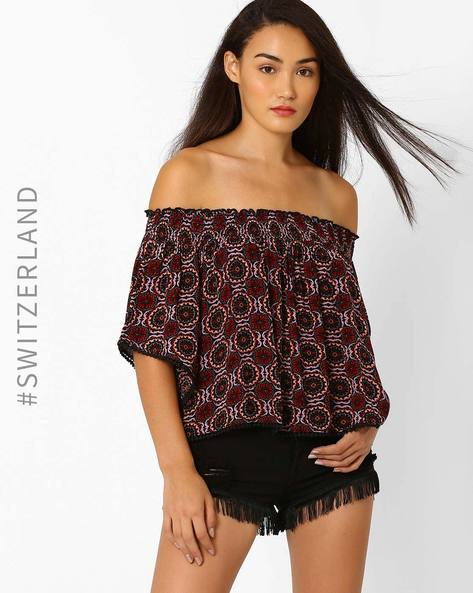 Off-Shoulder Kimono Top By TALLY WEiJL ( Red )