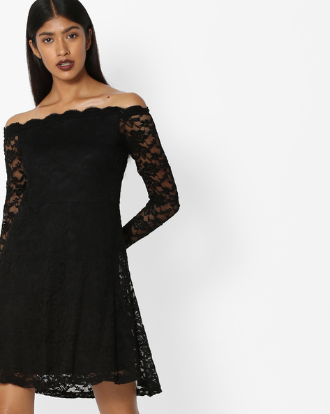 Off-Shoulder Lace Dress By Only ( Black )