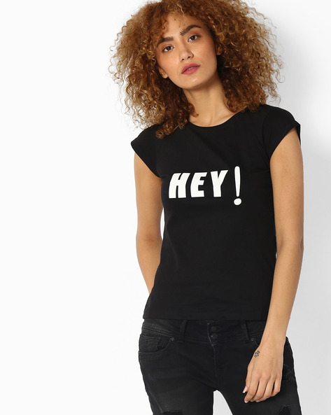 Printed Crew-Neck T-shirt By RIO ( Black )