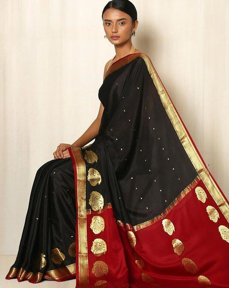 Pure Mysore Silk Crepe Saree By Indie Picks ( Black ) - 460039240001