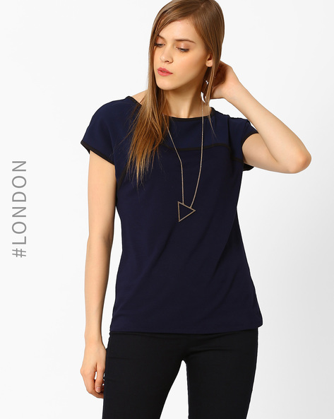 Panelled Relaxed Fit T-shirt By Marks & Spencer ( Navyblue )