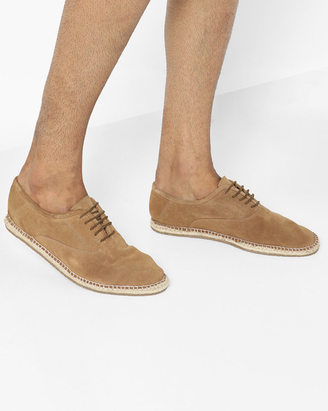 Suede N9-Treated Lace-Up Espadrilles By AJIO ( Tan )
