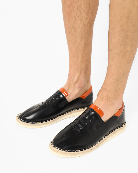 Slip-On Shoes With Elasticated Gussets By AJIO ( Black )
