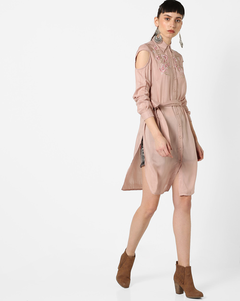 Embroidered Button-Front Tunic With Shirt Collar By Oxolloxo ( Pink )
