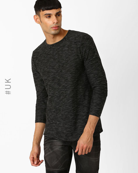 Crew-Neck T-shirt With Full Sleeves By Another Influence ( Black )