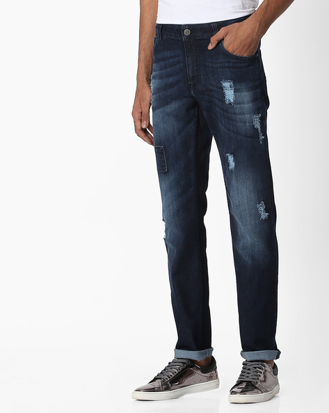 Distressed Slim Fit Jeans By Blue Saint ( Indigo )