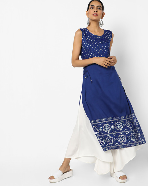 Printed Straight Kurta With Side Tie-Ups By AVAASA MIX N' MATCH ( Navy )