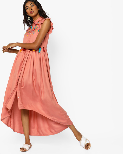 Shirt Dress With High-Low Hemline By AJIO ( Pink )