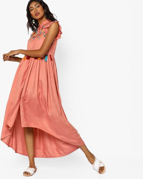 Shirt Dress With High-Low Hemline By AJIO ( Pink )