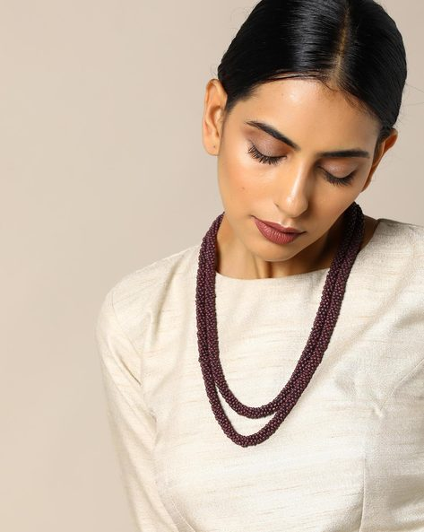 Beaded Long Necklace By Indie Picks ( Grape )
