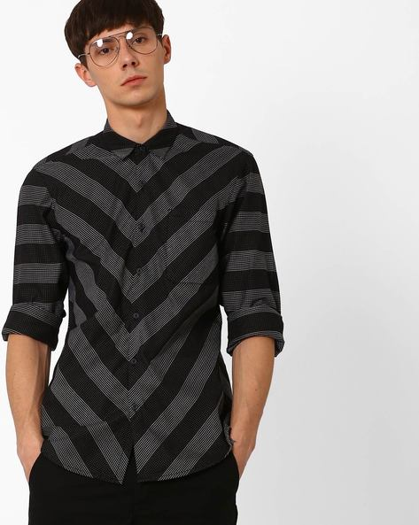 Geometric Print Slim Fit Shirt By Lee ( Black )
