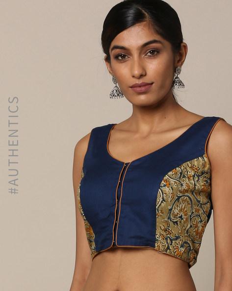 Kalamkari Print Cotton Sleeveless Blouse By Indie Picks ( Blue )