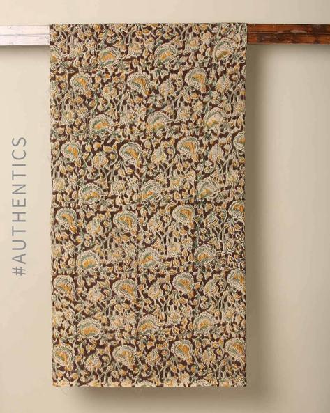 Handblock Print Kalamkari Cotton Rayon Blouse Fabric By Indie Picks ( Multi ) - 460147961001