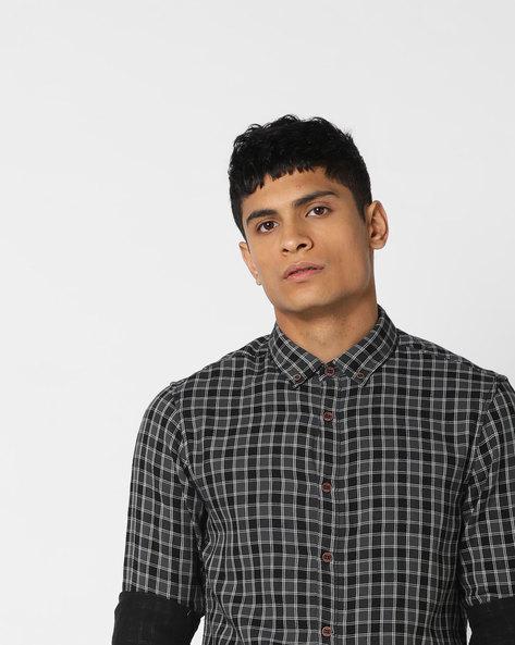 Button-Down Collar Checked Shirt By AJIO ( Grey )