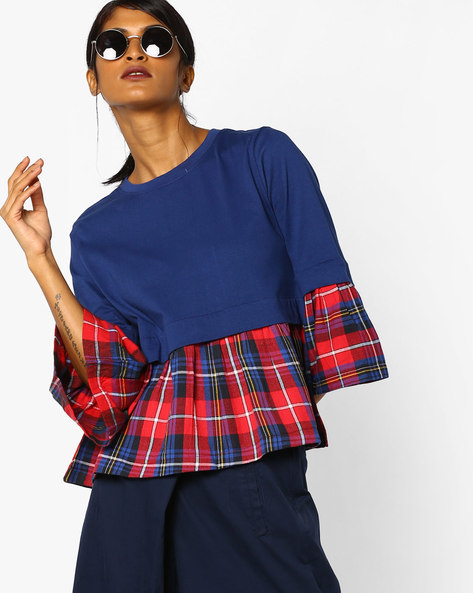 Panelled Peplum Top With Bell Sleeves By AJIO ( Navyblue )