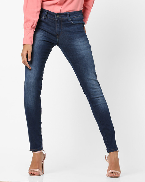 Low-Rise Skinny Jeans With Whiskers By Pepe Jeans ( Blue )