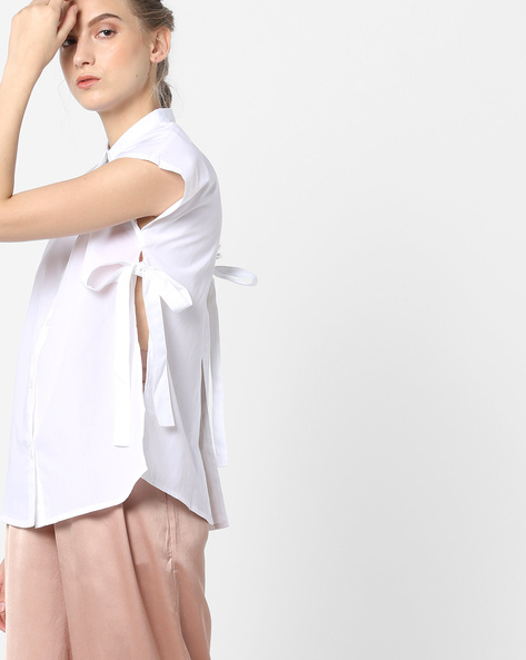 Shirt With Side Slits By Blue Saint ( White )