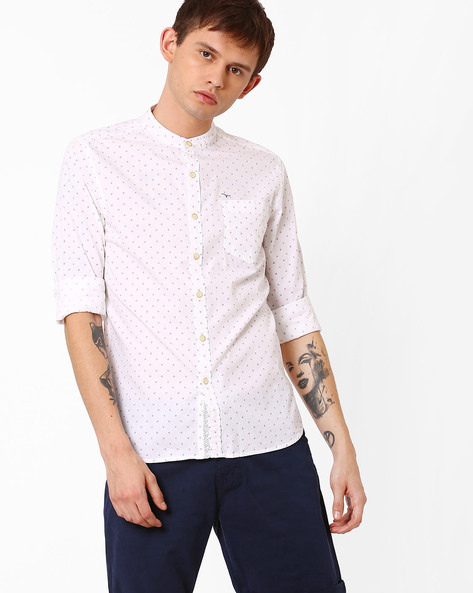 Printed Shirt With Band Collar By FLYING MACHINE ( White )