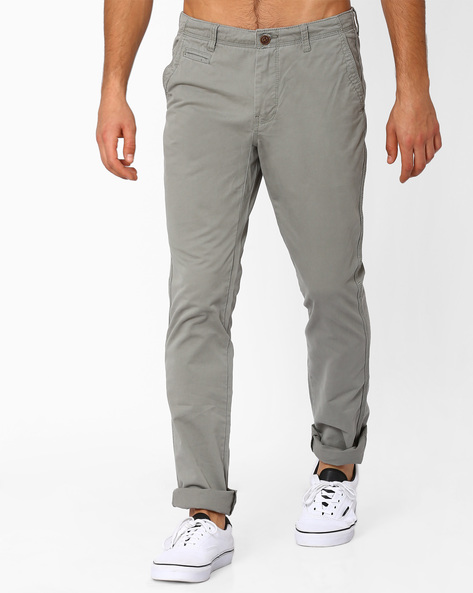 Mid-Rise Cotton Chinos By NETPLAY ( Olive )
