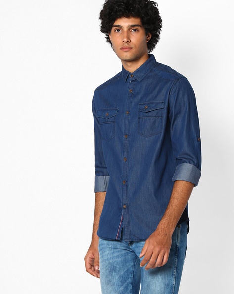 Lightly Washed Slim Fit Shirt By The Indian Garage Co ( Sblue )