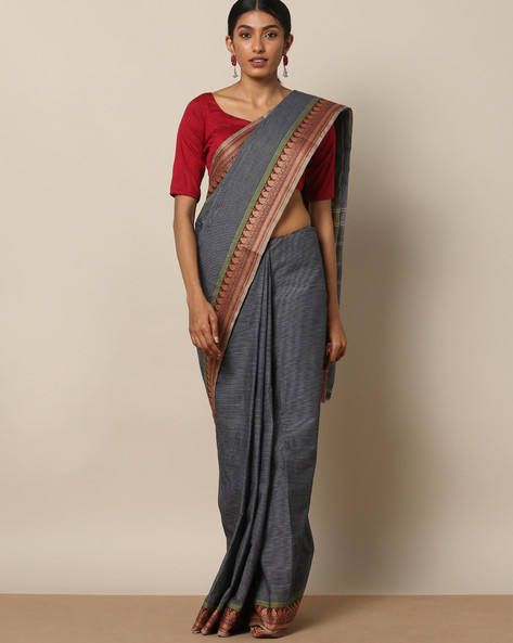Kanchi Cotton Saree With Woven Border By Indie Picks ( Blue ) - 460164702001