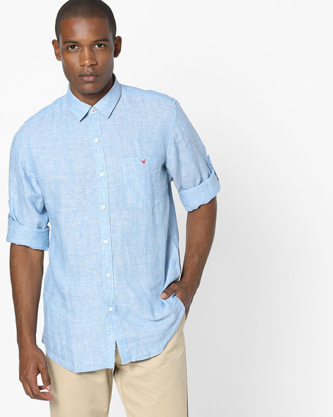 Slim Fit Shirt With Patch Pocket By Wills Lifestyle ( Blue )