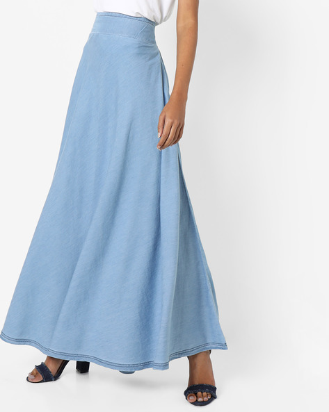 Denim Maxi Skirt By AJIO ( Lightblue )