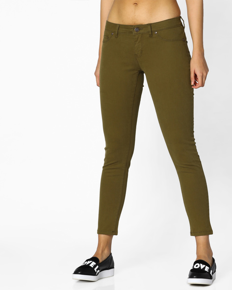 Mid-Rise Ankle-Length Trousers By DNMX ( Olive )