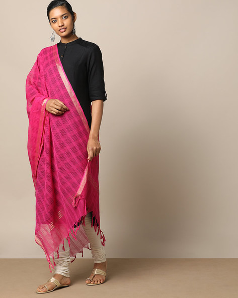 Checked Cotton Dupatta With Zari Border By Indie Picks ( Pink )