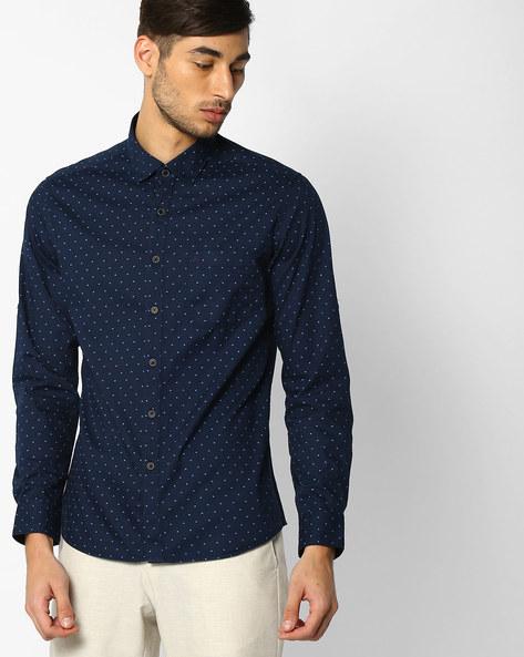 Printed Regular Fit Shirt By NETPLAY ( Navy )