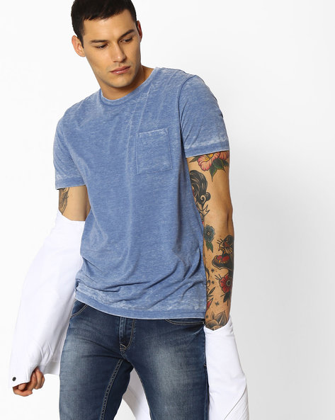 Crew-Neck T-shirt With Patch Pocket By Celio ( Blue )