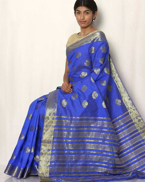 Woven Buti Art Silk Saree By Rudrakaashe-MSU ( Indigo )