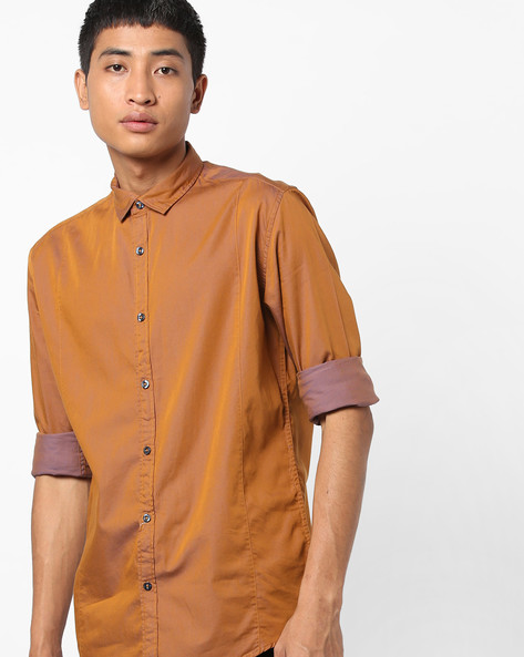 Slim Fit Shirt With Spread Collar By British Club ( Khaki )