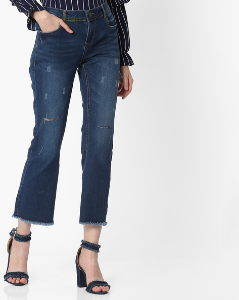 Mid-Rise Distressed Jeans With Frayed Hems By DNMX ( Darkblue )