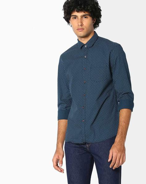 Printed Regular Fit Cotton Shirt By NETPLAY ( Navy )