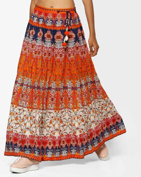 Printed Maxi Skirt With Drawstring By Shree ( Orange )