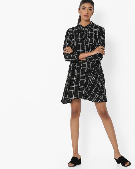 Checked A-line Shirt Dress By RIO ( Black )