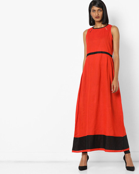 Sleeveless Chevron Print Maxi Dress With Cutouts By Desi Fusion ( Orange )