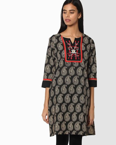 Paisley Straight Kurta With Floral Embroidery By Jiyaa ( Black )