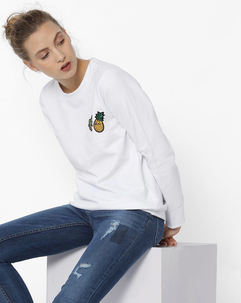 Crew-Neck Sweatshirt With Appliqués By ANONYMOUS CO ( White )