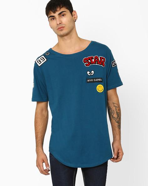 Cotton T-shirt With Appliqué By ADAMO LONDON ( Blue )