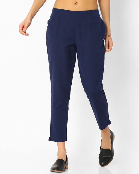 Cropped Pants With Elasticated Waist By Melange By Lifestyle ( Navy )