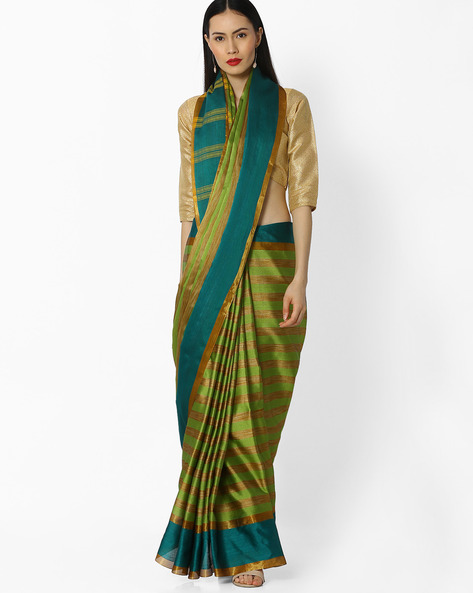 Striped Art Silk Saree By Amori ( Green )