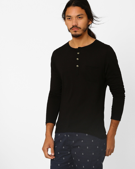 Slim Fit Henley T-shirt With Patch Pocket By MR.BUTTON ( Black )