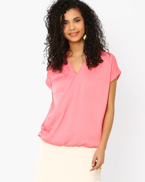 Blouson Top With Overlapping Front By AJIO ( Pink )