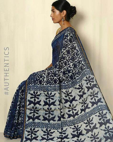 Handblock Print Indigo Chanderi Saree With Zari Border By Indie Picks ( Indigo ) - 460053735001