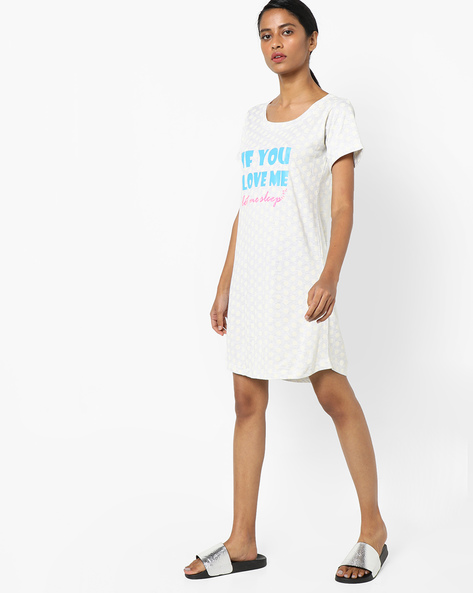 Typographic Print Night Dress By Clovia ( Blue )