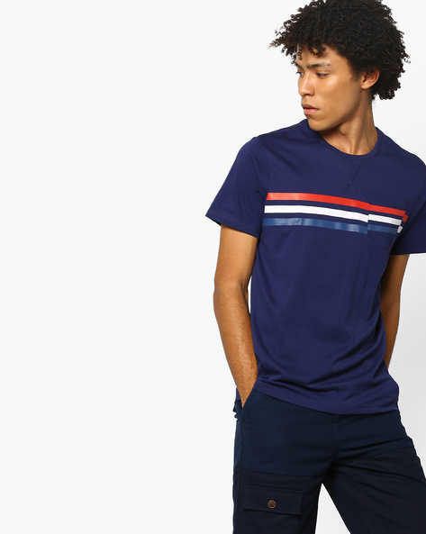 Crew-Neck T-shirt With Patch Pocket By AJIO ( Navy )