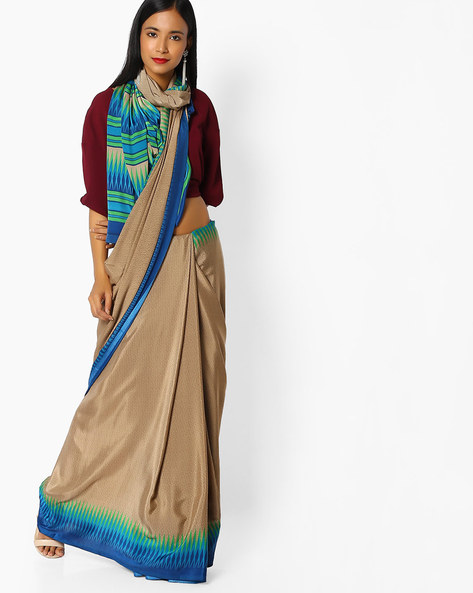Printed Saree With Contrast Border By Majestic Silk ( Blue ) - 460100322001